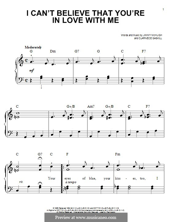 I Can't Believe That You're in Love with Me: For easy piano by Clarence Gaskill