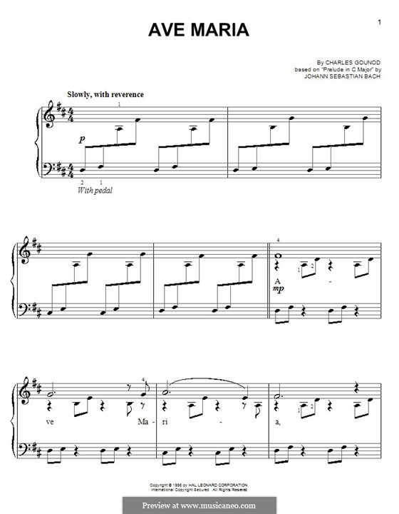 Ave Maria (Printable Sheet Music): Version for easy piano by Johann Sebastian Bach, Charles Gounod