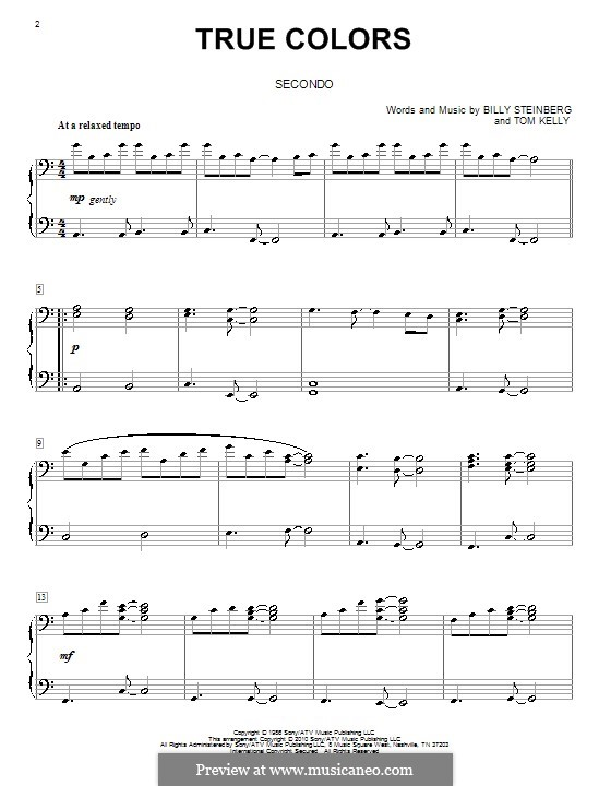 True Colors: For piano four hands by Billy Steinberg, Tom Kelly