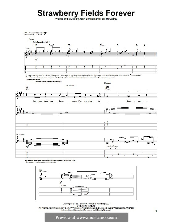 Strawberry Fields Forever (The Beatles): For guitar with tab by John Lennon, Paul McCartney