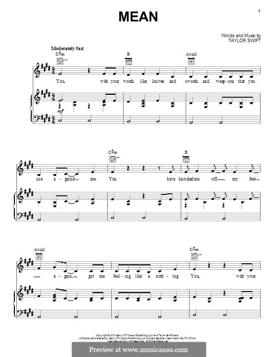 Mean: For voice and piano (or guitar) by Taylor Swift