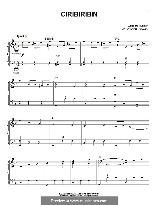 Ciribiribin: For accordion by Albert Pestalozza