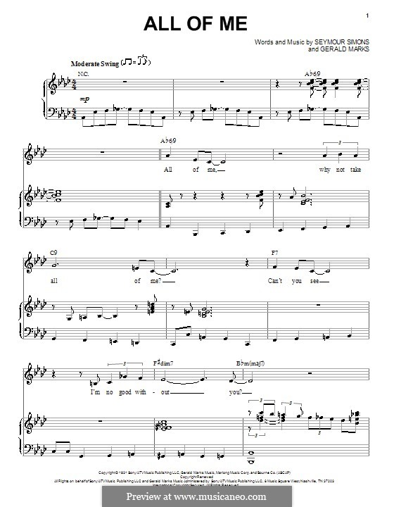 All of Me: For voice and piano by Seymour Simons, Gerald Marks