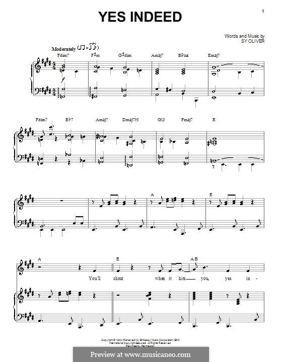 Yes Indeed (Frank Sinatra): For voice and piano by Sy Oliver