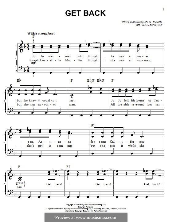 Get Back (The Beatles): For easy piano by John Lennon, Paul McCartney