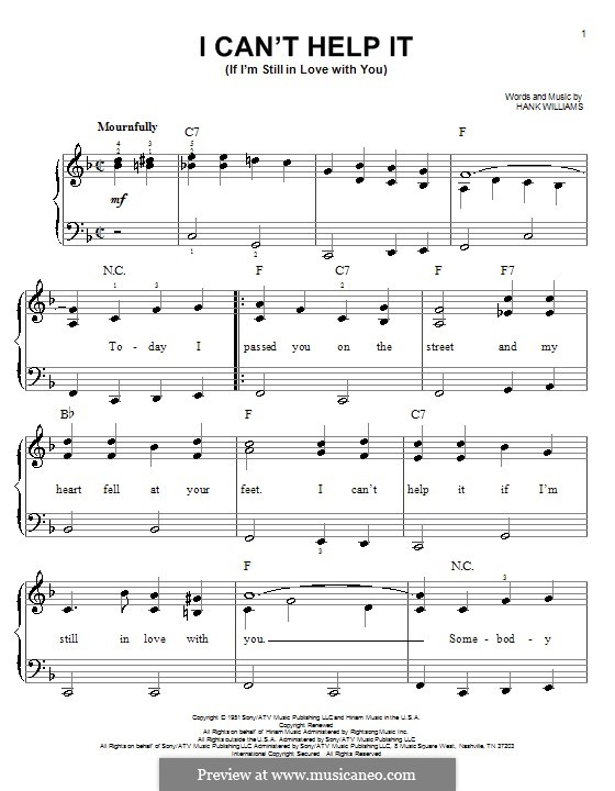 I Can't Help It (If I'm Still in Love with You): For easy piano by Hank Williams
