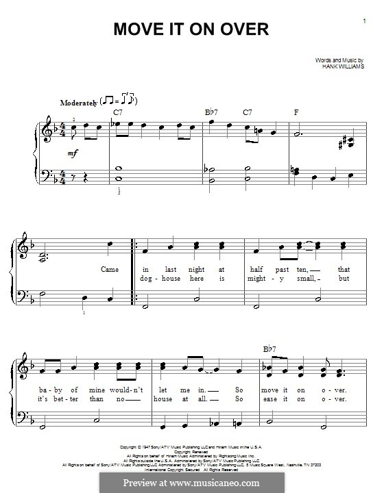 Move It on Over: For easy piano by Hank Williams