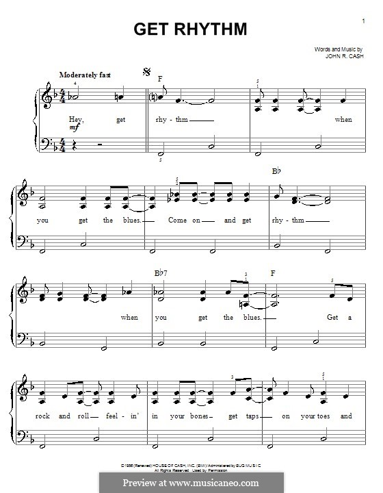 Get Rhythm: For easy piano by Johnny Cash