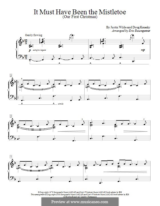 It Must Have Been the Mistletoe (Our First Christmas): For piano (Barbara Mandrell) by Doug Konecky, Justin Wilde
