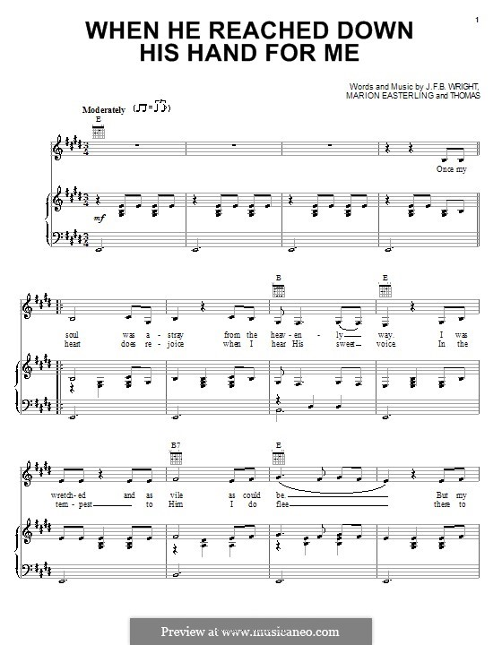 When He Reached Down His Hand for Me (Johnny Cash): For voice and piano (or guitar) by J. F. B. Wright, Marion Easterling
