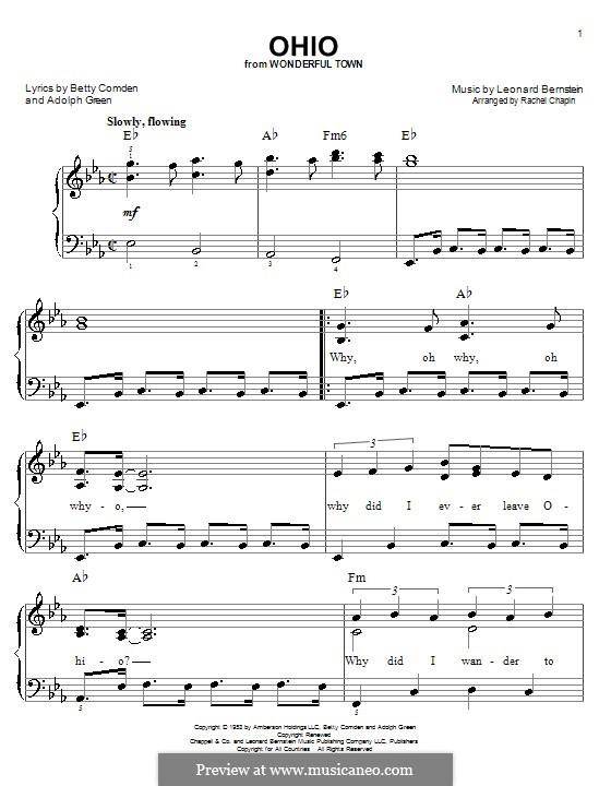Ohio: For easy piano by Leonard Bernstein