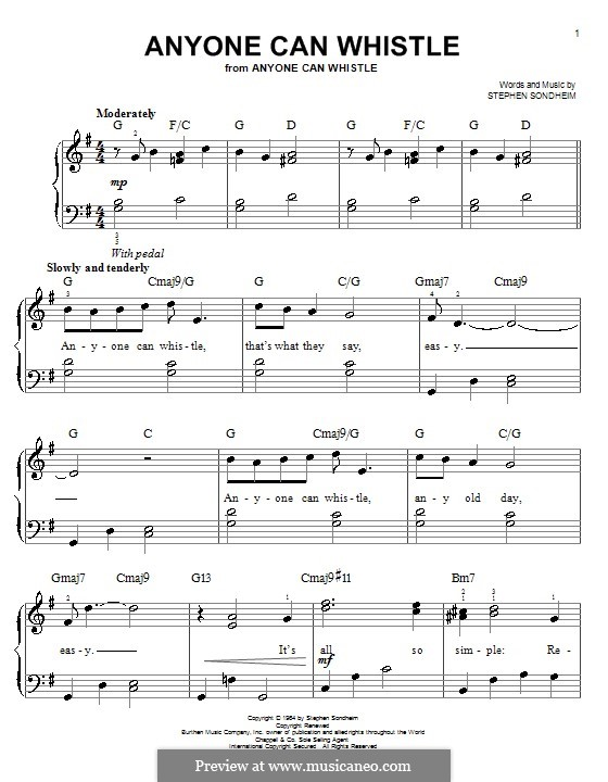 Anyone Can Whistle: For easy piano by Stephen Sondheim