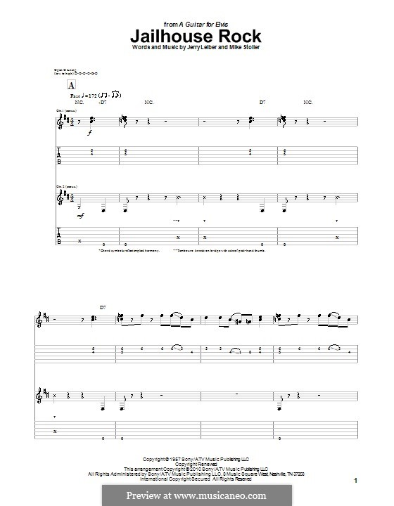 Jailhouse Rock (Elvis Presley): For guitar by Jerry Leiber, Mike Stoller