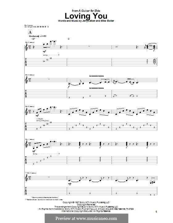 Loving You (Elvis Presley): For guitar with tab by Jerry Leiber, Mike Stoller