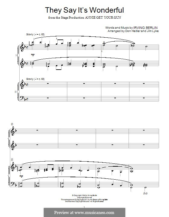 They Say It's Wonderful: For piano four hands by Irving Berlin