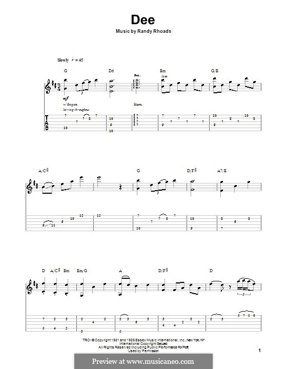 Dee: For guitar with tab by Randy Rhoads