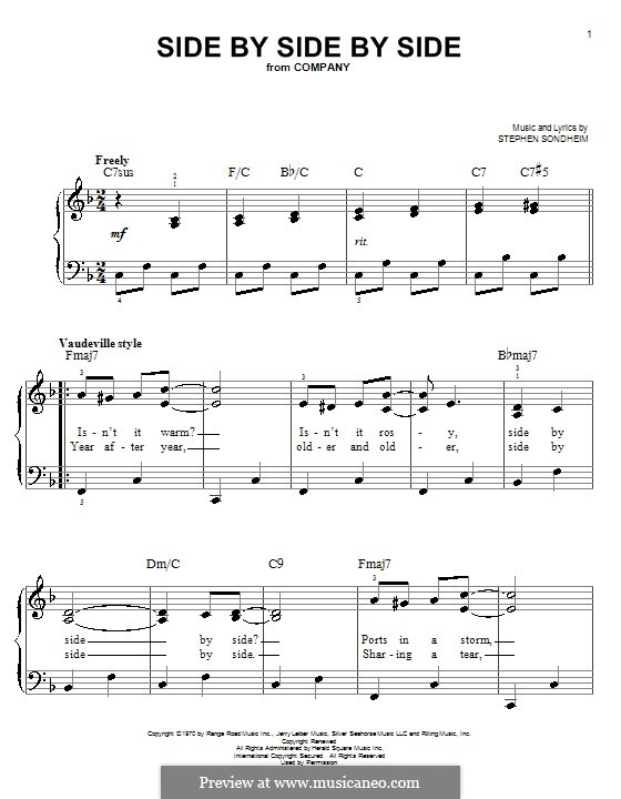 Side By Side By Side: For easy piano by Stephen Sondheim