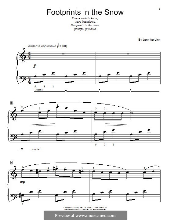 Footprints in the Snow: For piano by Jennifer Linn