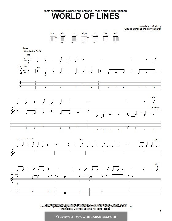 World of Lines (Coheed and Cambria): For guitar with tab by Claudio Sanchez, Travis Stever