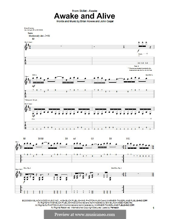 Awake and Alive (Skillet): For guitar with tab by Brian Howes, John Cooper