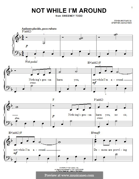 Not While I'm Around: For easy piano by Stephen Sondheim