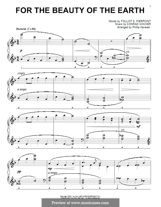 For the Beauty of the Earth: For piano (high quality sheet music) by Conrad Kocher