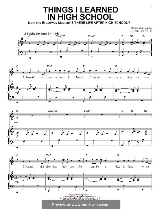 Things I Learned in High School: For voice and piano by Craig Carnelia