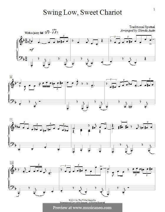 Swing Low, Sweet Chariot: For piano by folklore