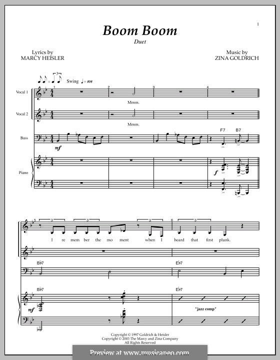 Boom Boom: For voice and piano by Marcy Heisler, Zina Goldrich