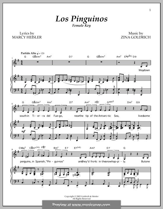 Los Pinguinos (Female Key): For voice and piano by Marcy Heisler, Zina Goldrich