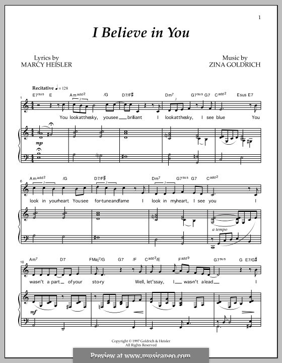 I Believe in You: For voice and piano by Marcy Heisler, Zina Goldrich