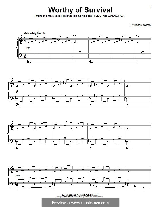 Worthy of Survival: For piano by Bear McCreary