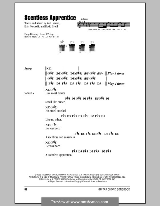Scentless Apprentice (Nirvana): Lyrics and chords (with chord boxes) by David Grohl, Krist Novoselic, Kurt Cobain