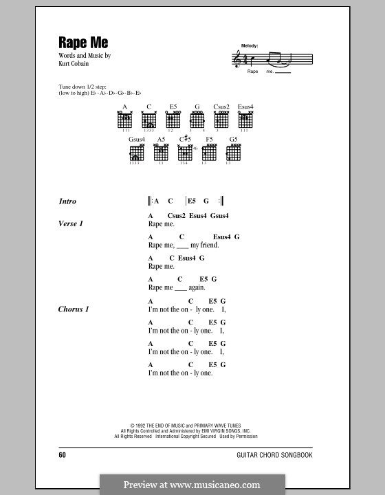 Rape Me (Nirvana) by K. Cobain - sheet music on MusicaNeo