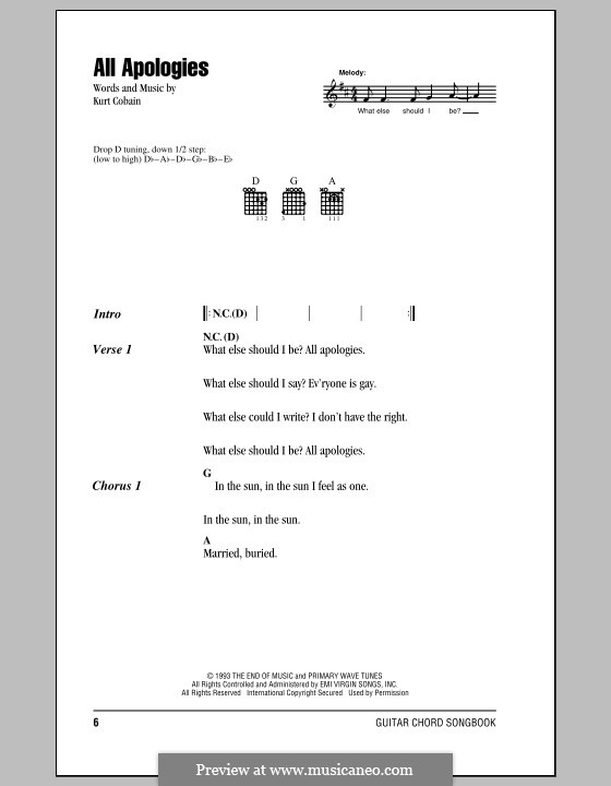 All Apologies (Nirvana): Lyrics and chords (with chord boxes) by Kurt Cobain