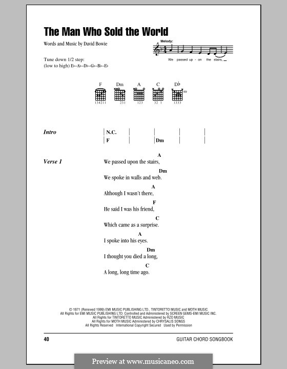 The Man Who Sold the World (Nirvana) by D. Bowie - sheet music on ...