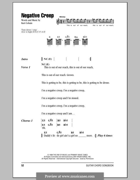 Negative Creep (Nirvana) by K. Cobain - sheet music on MusicaNeo