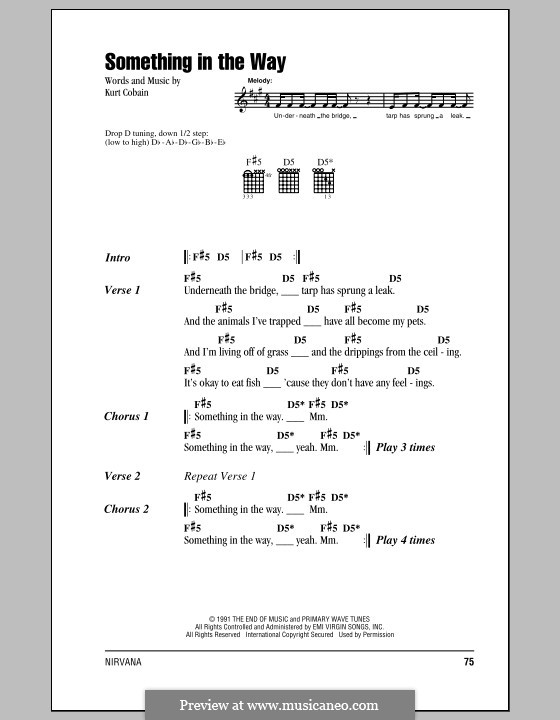 Something in the Way (Nirvana) by K. Cobain - sheet music on MusicaNeo