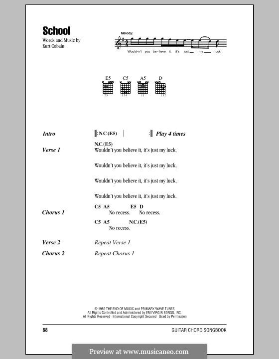 School (Nirvana) by K. Cobain - sheet music on MusicaNeo