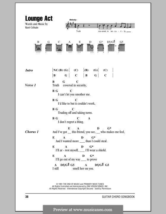 Lounge Act (Nirvana): Lyrics and chords (with chord boxes) by Kurt Cobain