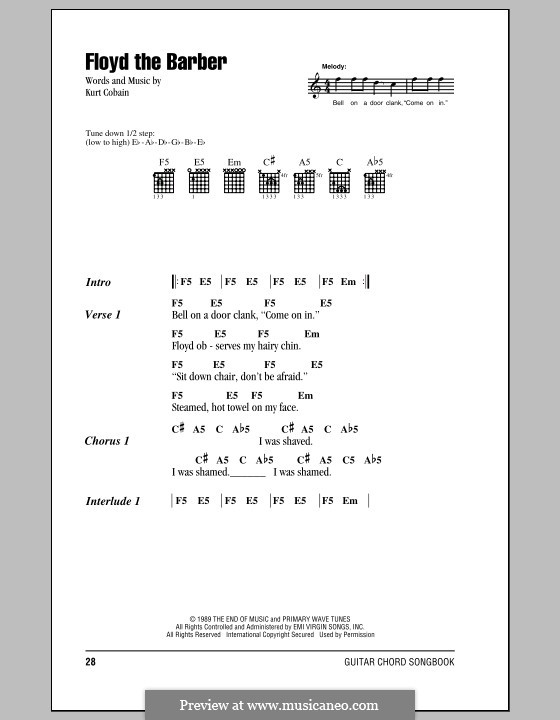 Floyd the Barber (Nirvana): Lyrics and chords (with chord boxes) by Kurt Cobain