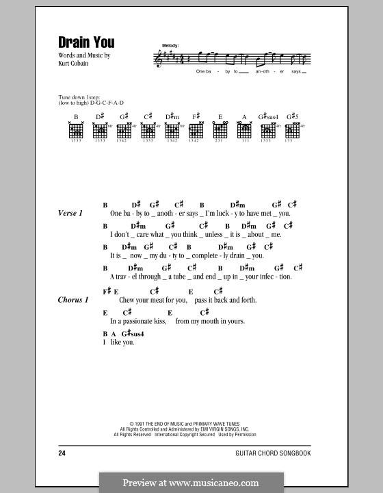 Drain You (Nirvana) by K. Cobain - sheet music on MusicaNeo