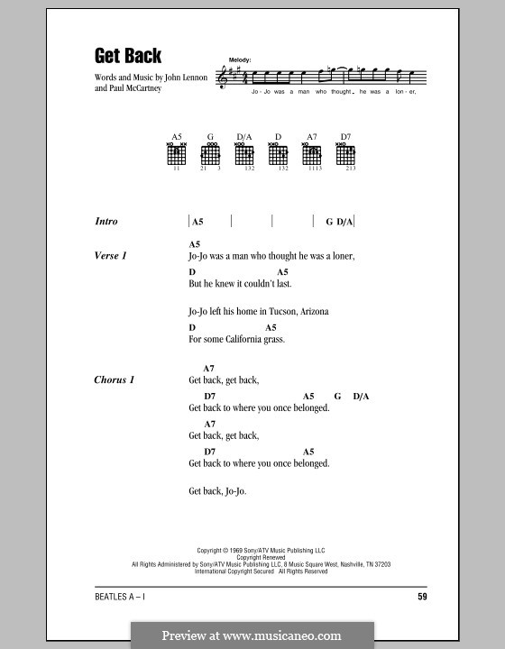 Get Back (The Beatles): Lyrics and chords (with chord boxes) by John Lennon, Paul McCartney
