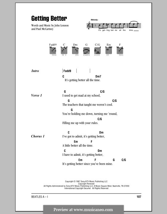 Getting Better (The Beatles): Lyrics and chords (with chord boxes) by John Lennon, Paul McCartney