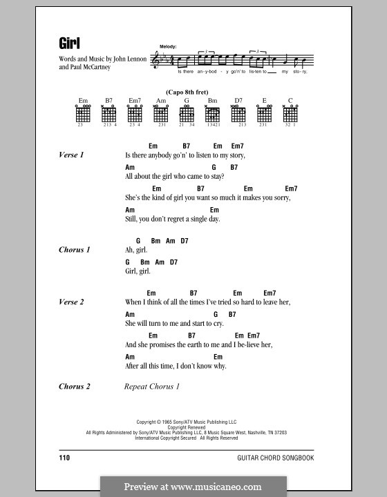 Girl (The Beatles): Lyrics and chords (with chord boxes) by John Lennon, Paul McCartney