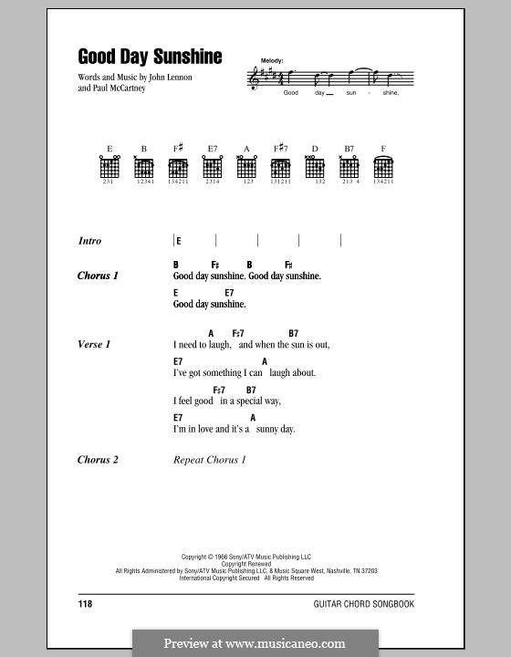 Good Day Sunshine (The Beatles): Lyrics and chords (with chord boxes) by John Lennon, Paul McCartney