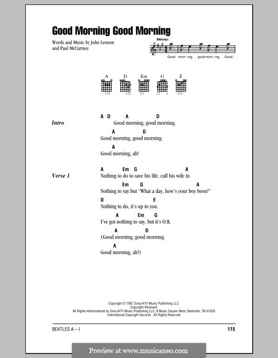 Good Morning Good Morning (The Beatles): Lyrics and chords (with chord boxes) by John Lennon, Paul McCartney
