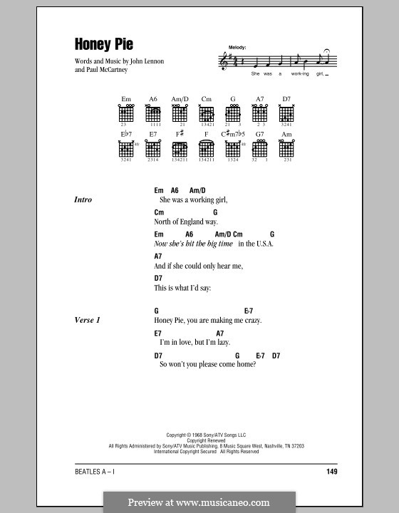 Honey Pie (The Beatles): Lyrics and chords (with chord boxes) by John Lennon, Paul McCartney