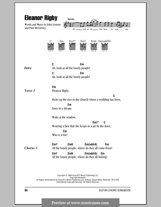 Eleanor Rigby (The Beatles): Lyrics and chords (with chord boxes) by John Lennon, Paul McCartney