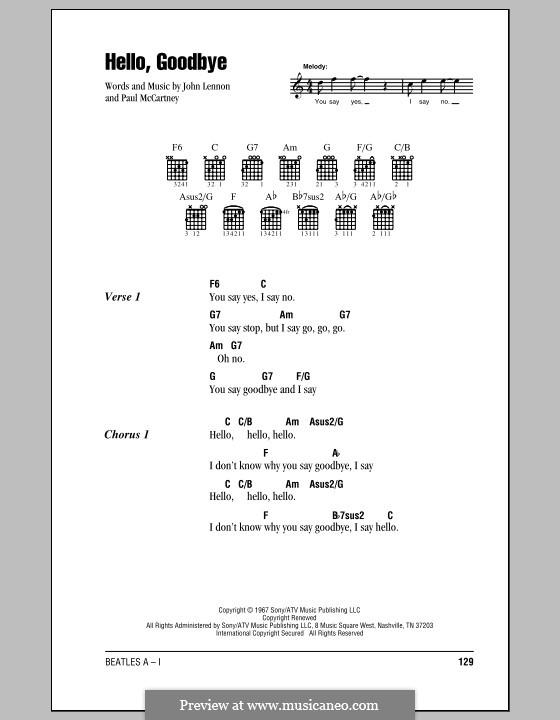 Hello, Goodbye (The Beatles): Lyrics and chords (with chord boxes) by John Lennon, Paul McCartney